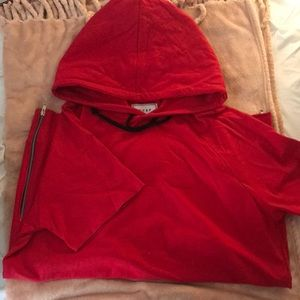 Red hoodie short sleeve with side zippers